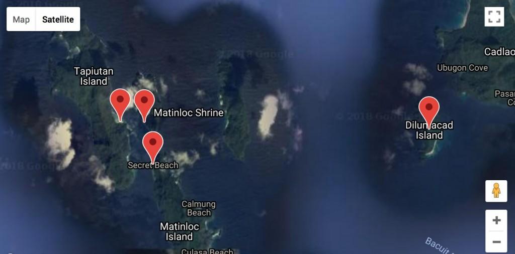 Destinations of El Nido Tour C seen on a map