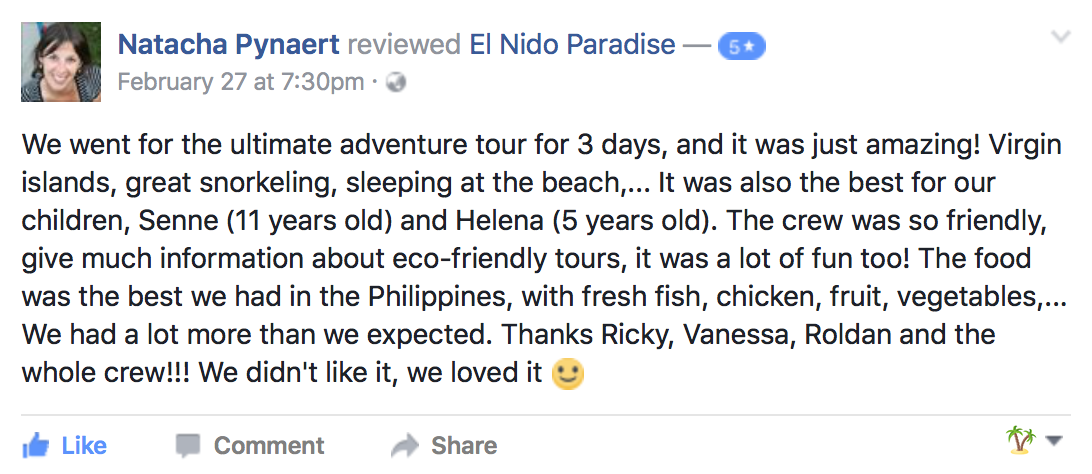 Facebook Review for El Nido Paradise's Ultimate Adventure tour
